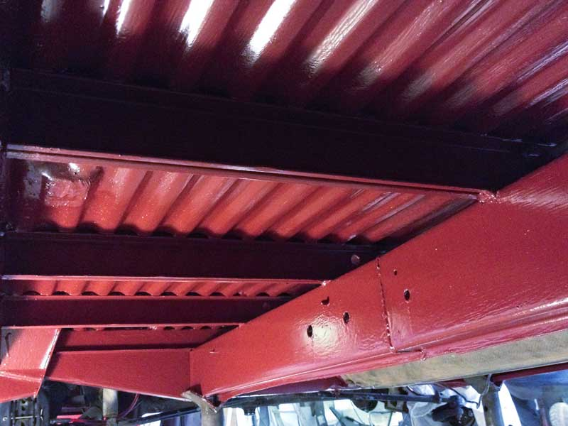 the undersides transformation with second and final coat of the red oxide coloured Epoxy Mastic 121