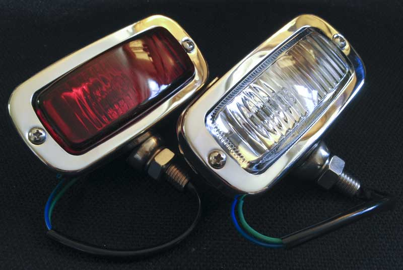 retro inspired rear fog and reverse light in stainless steel