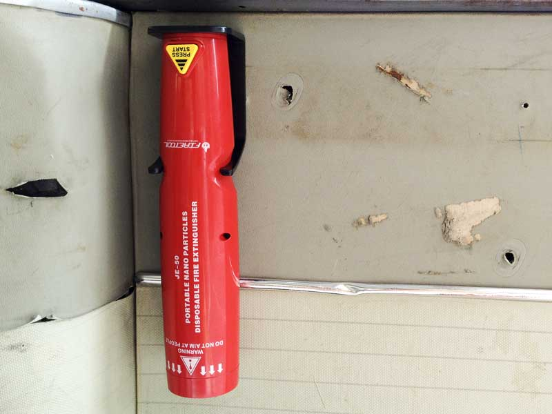 the super powereful and compact JE50 fire extinguisher fits neatly on the bulkhead