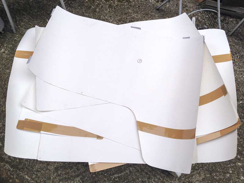 a set of full size paper templates for the interior panels