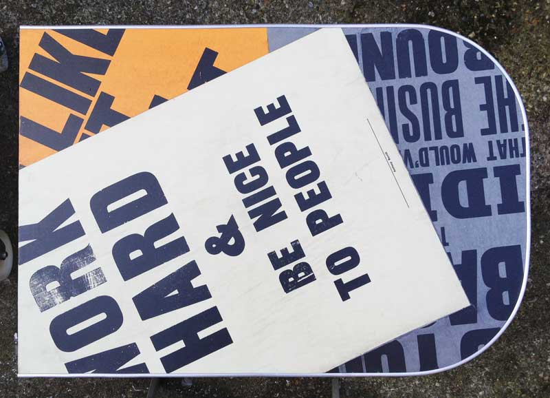 the Anthony Burrill inspired table top is finished