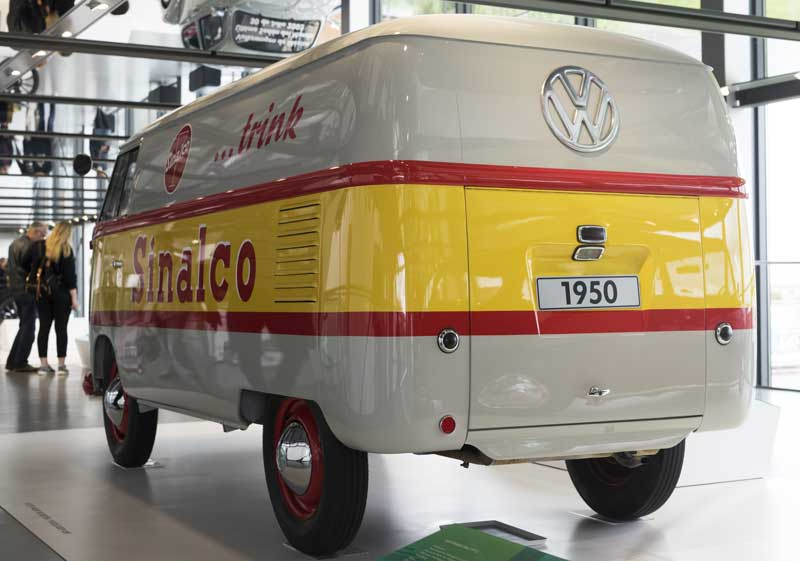nice rear end – sign written 1950 VW Barndoor bus