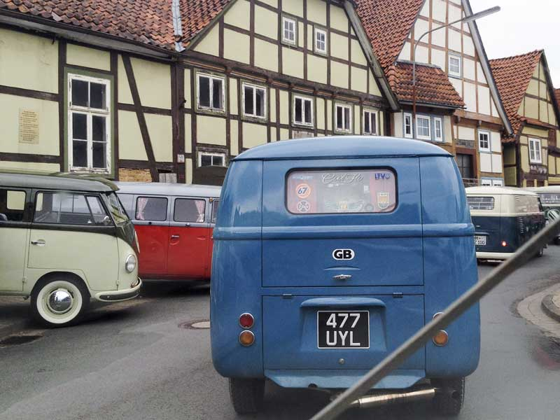 driving through the old town streets of Hessisch Oldendorf