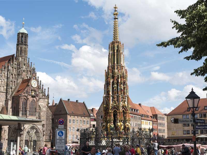 the ornate Schöner Brunnen in Nuremberg's market square