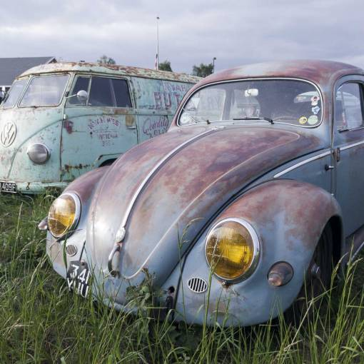 cool vintage air cooled VW's everywhere you look