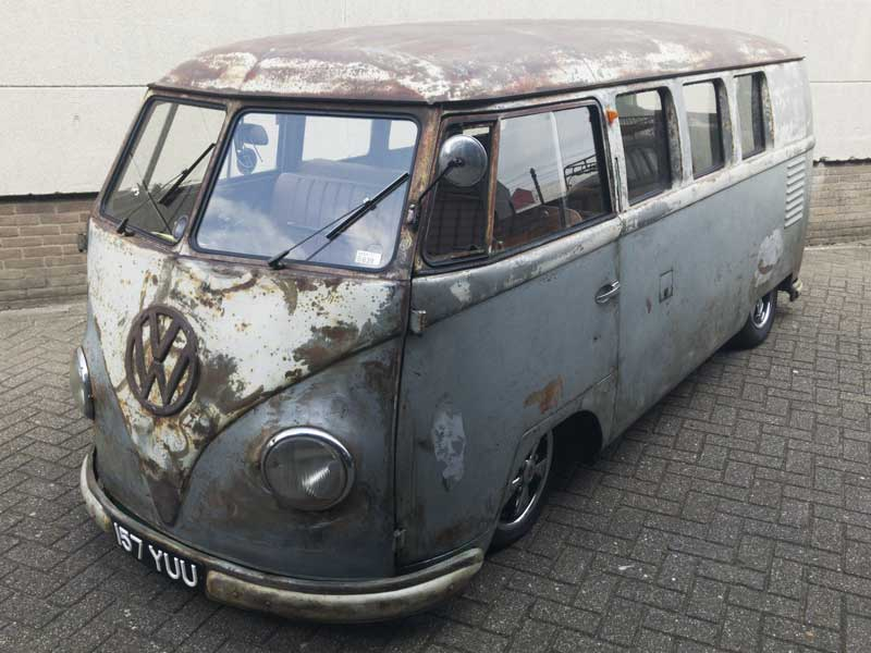 patina aplenty on this slammed grey and white barndoor