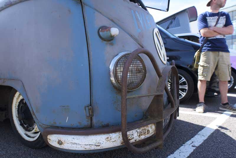 super cool, sign written slammed pressed bumper panel van with Hurst bumper obvs