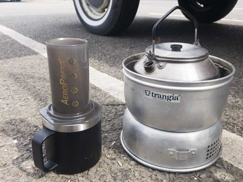 drinks break with my trusted Trangia stove and Aero Press coffee maker