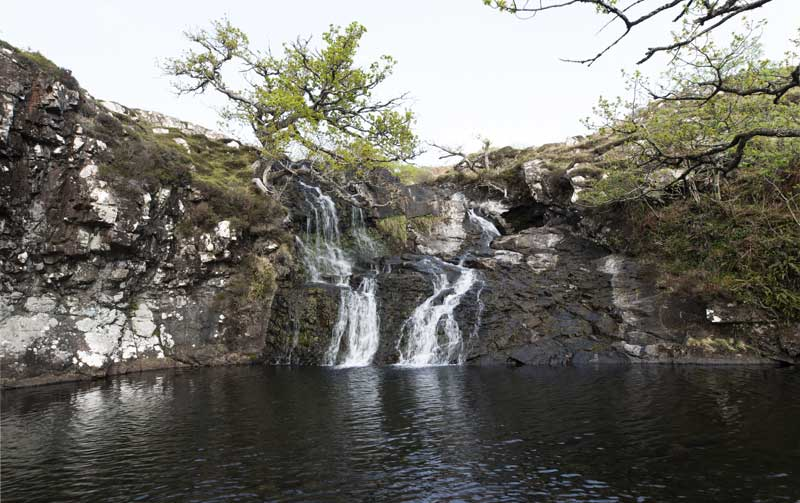 the beautiful second waterfall of the Eas Fors trio