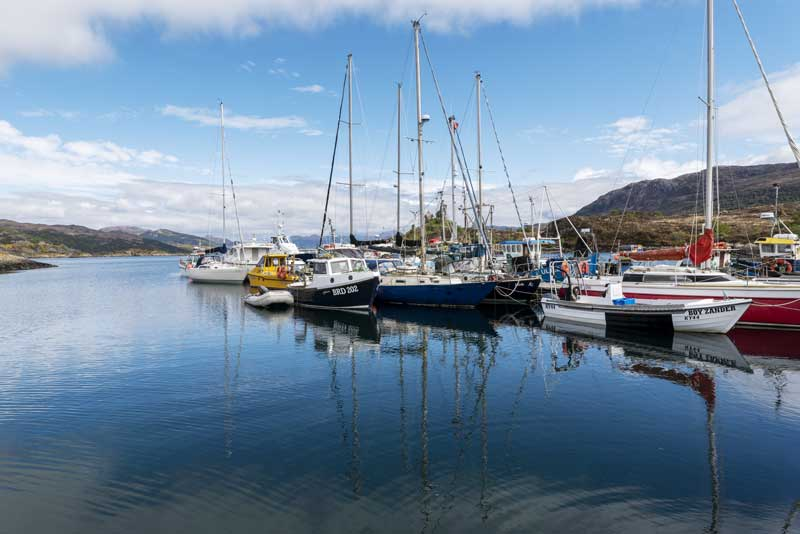 the crystal clear water of Kyleakin harbour