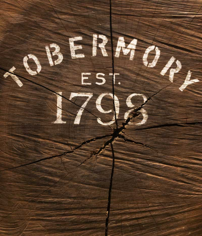 love a bit of distressed typography – Tobermory Whisky distillery