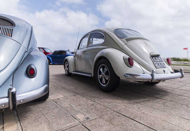 nose down stance and Porsche Fuches on this beautiful Beetle