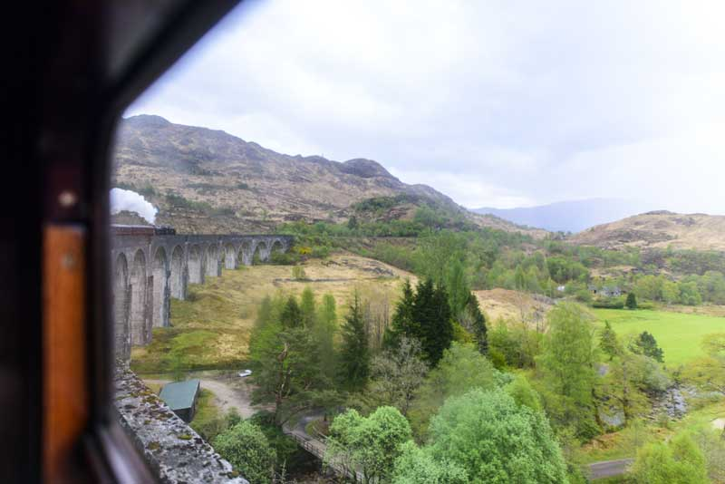 the famous 21-arched Glenfinnan viaduct made famous in the Harry Potter films