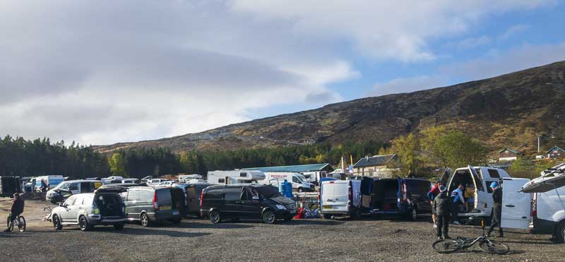 the empty car park was crammed full of vans and bikes first thing