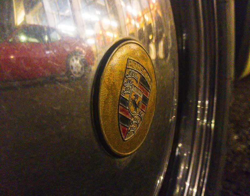 classic vintage stock Porsche wheel detailing