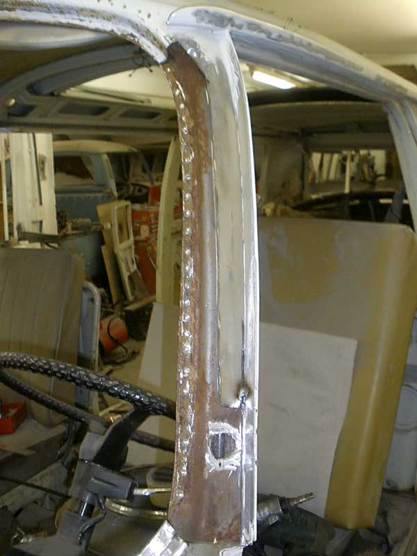 The pitted section gets cut back to good solid OG metal, and a small repair section gets welded in place