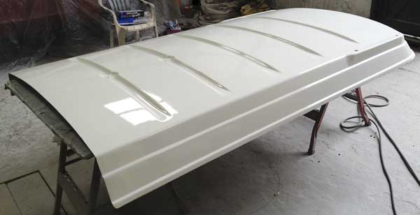 The main pop top roof section gets resprayed