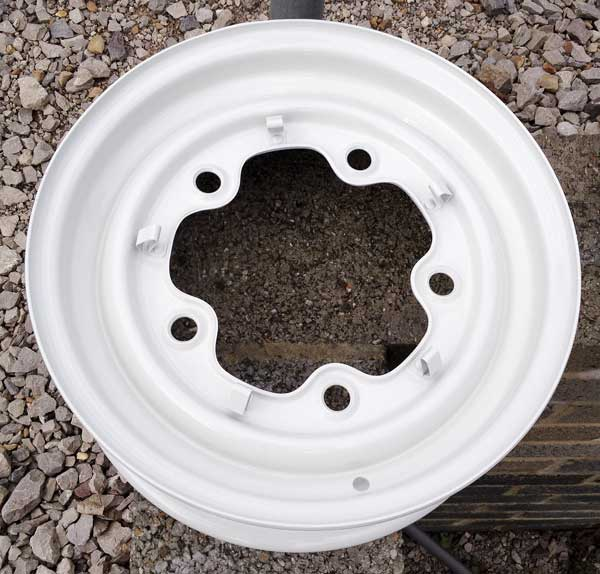 """the original stock 14"""" steel wheels were blasted, primed and painted white"""