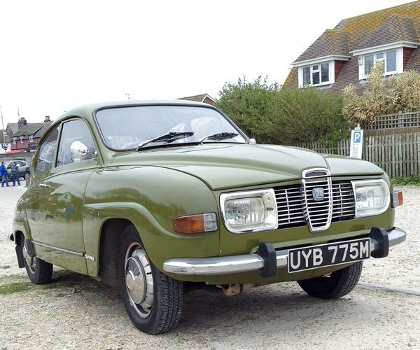 a lone Saab 96 was the last vintage car left when I arrived