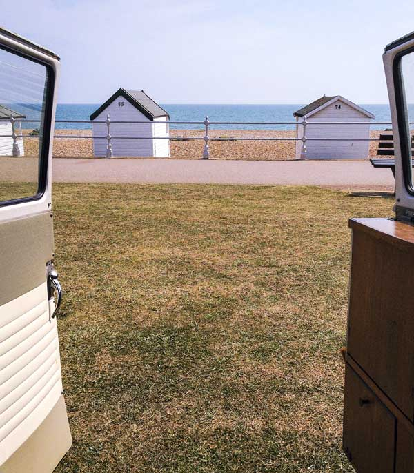 a mobile room with a view at Bexhill beach