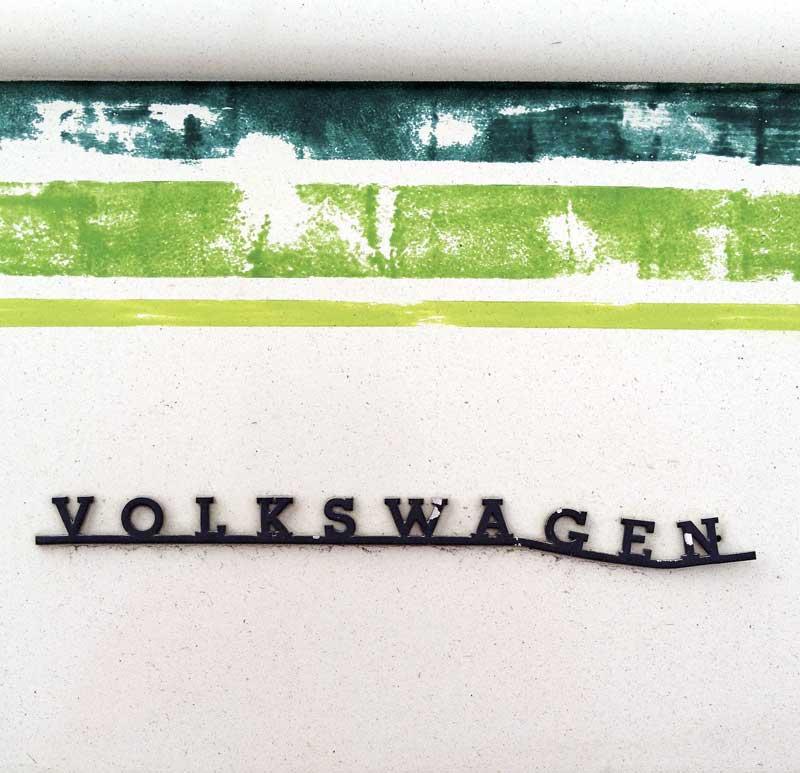 distressed Volkswagen badge script