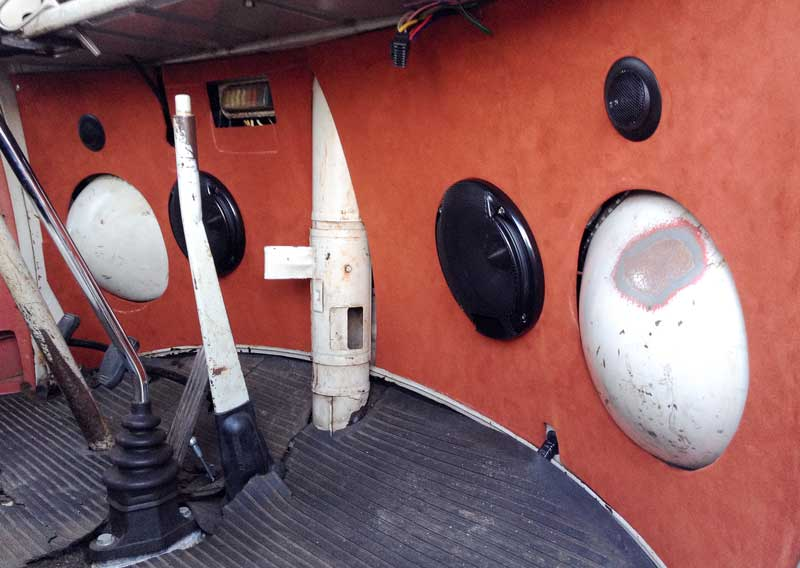 speakers and covered kick panels fitted in place