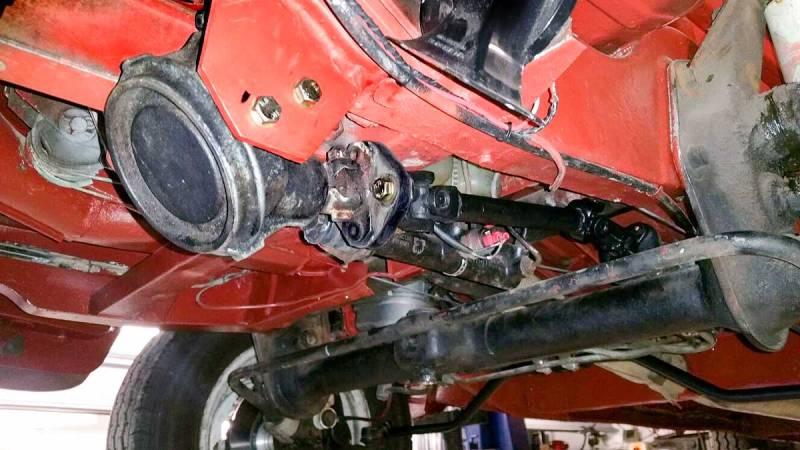 T3/T25 steering bevel box used in custom power assisted steering rack conversion