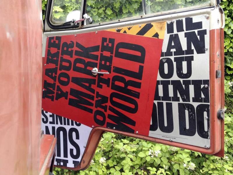 Make your mark on the world passenger side cab door
