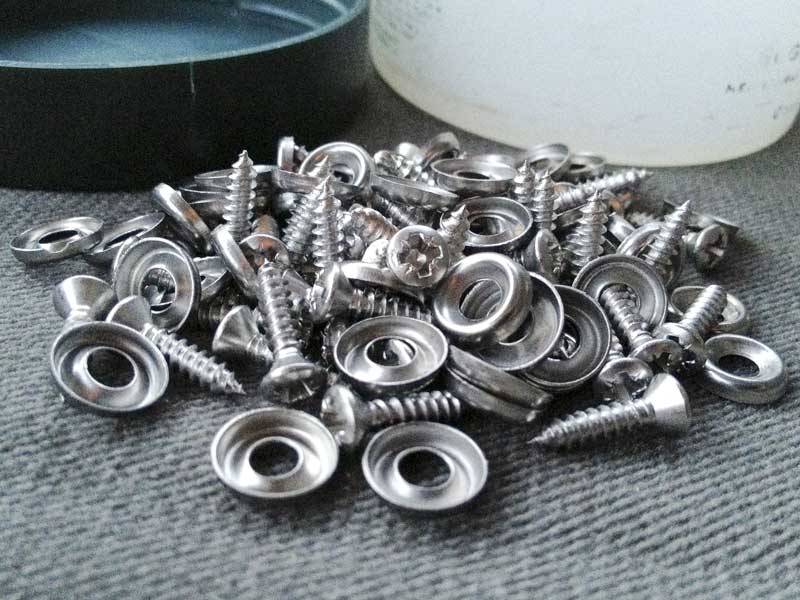 self-tapping stainless steel screws and screw cups for fixing the interior panels