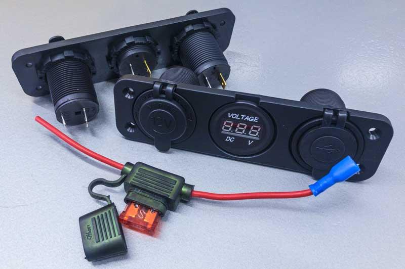 12v panel for 2x USB ports, 20A cigar lighter socket and volt meter