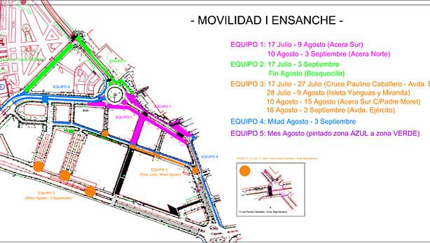 Obras de reordenación del tráfico en el Ensanche