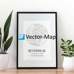 kaart poster Beverwijk