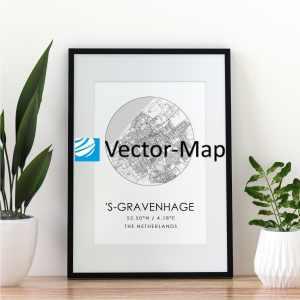 kaart poster Den Haag