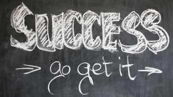 "The words ""SUCCESS - go get it"" written on a black board."