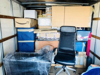 furniture in the moving truck
