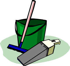 A drawing of a bucket a broom and a vacuum cleaner used to clean your new home