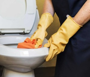 A person wearing rubber gloves cleaning the toilet