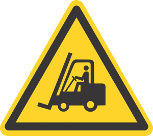 Forklift sign, a precaution while lifting your storage container.