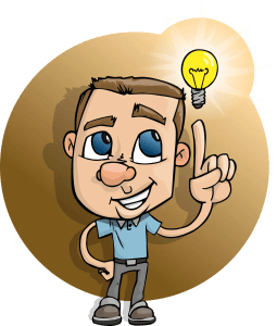 A drawing of a man and a light bulb next to his head