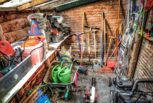 gardening tools in storage