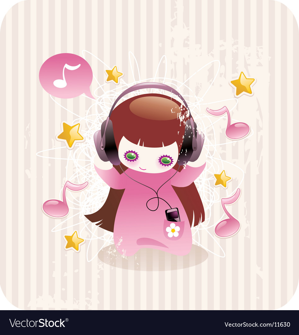 cartoon girl with player and headphones listen to music. Keywords: