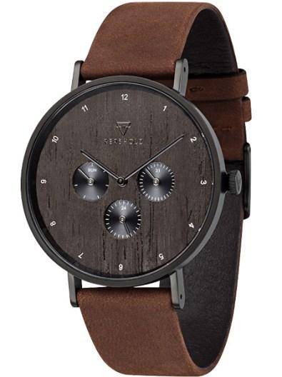 kerbholz-caspar-heritage-wood-tobacco-horloge-4251240402475-notenhouten-wijzerplaat-bruin-leren-band-zwarte-kast