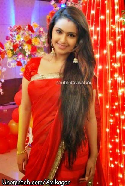 Avika Gor In Red Saree Veethi