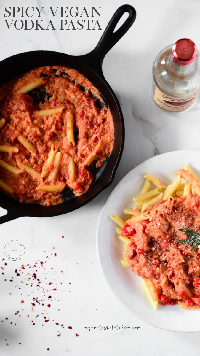 This easy vegan vodka sauce recipe is so simple to make and is ready in just 30 minutes! If you love vegan penne pasta with vodka sauce you will love this recipe. Pin it, it's a keeper! #veganvodkasauce #veganvodkapasta #easyveganvodkasauce