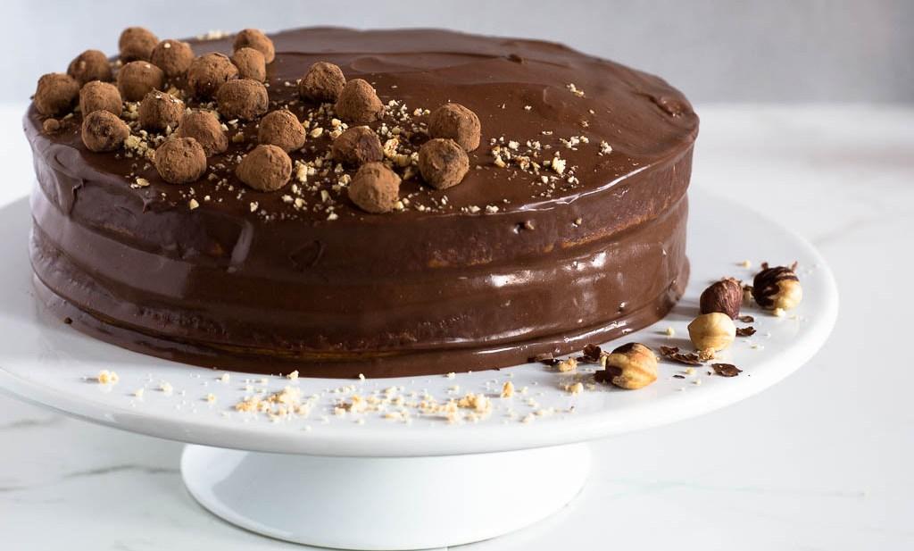 Decadent Toasted Hazelnut Cake with Whipped Dark Chocolate Ganache