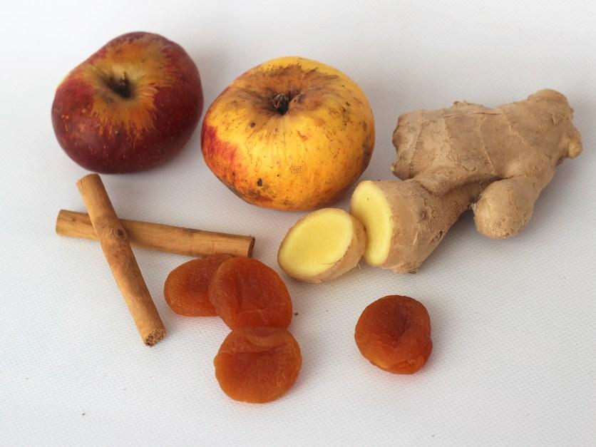 Manzana, Jengibre, Orejones y Canela Ingredientes para una deliciosa infusión