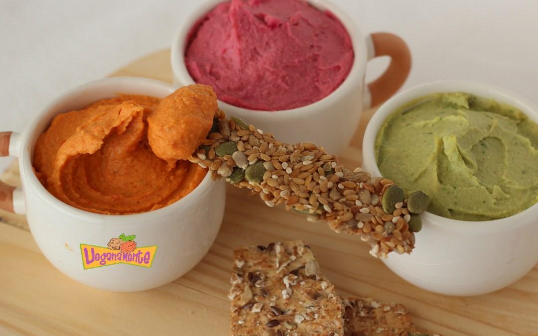 Hummus de Tres Sabores, Receta Deliciosa y Colorida