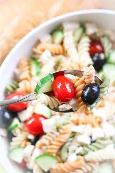 Wedding Pasta Salad with Tofu Chunks https://www.veganblueberry.com