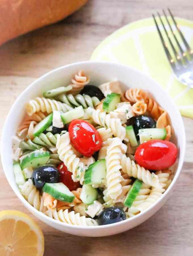 Wedding Pasta Salad with Marinated Tofu (vegan)
