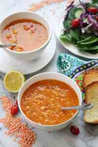 Mediterannean -style Red Lentil Soup with Chickpeas (Vegan)